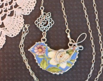 Necklace, Broken China Jewelry, Bird Necklace, Blue Floral Chintz, Sterling Silver, Soldered Jewelry