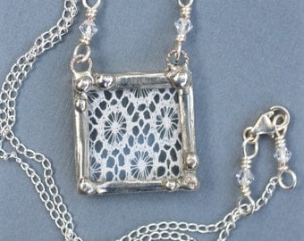 Necklace, Lace Pendant, Soldered Jewelry, Ivory Vintage Lace