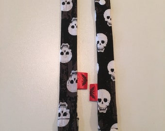 Black with White Skulls Binky Leash - Pacifier Clip - Pacifier Leash - Pacifier Clip - Baby Bink Link - Baby or Infant Pacifier Leash