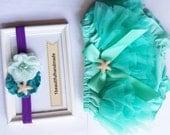 Ariel Mermaid Princess Headband Tutu Bloomers- Newborn Mermaid Photography Prop , Newborn Photo Prop - Disney Mermaid - Starfish HEADBAND