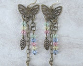 Handmade brass butterfly earrings with pastel Swarovski crystals, pink, yellow, green, blue, Easter, ready to ship, gift for her, made in MT