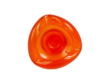 Vintage Blenko Glass Bright Orange Art Glass Footed Bowl Crimped Sides Candy Nut Dish Art Deco Ashtray Heavy Glass