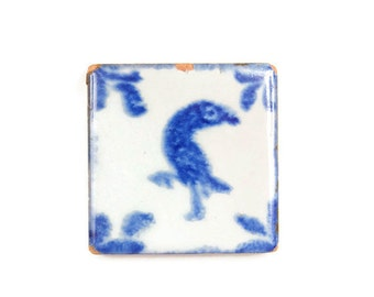 Vintage Blue Bird Ceramic Pottery Tile Square Hand Painted Cobalt Coaster Mexican Bird Tile Earthenware