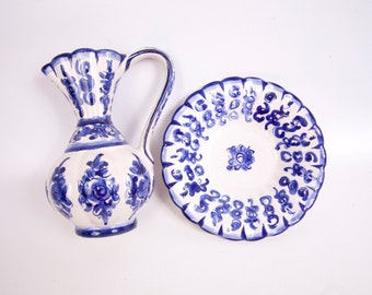 Vintage Portugal Pitcher Bowl Cobalt Blue Flow Blue Blue and White Ewer Basin Wine Carafe Chamber Pot Vanity Décor Decanter