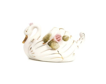 Vintage Swan Planter Artmark Originals Made in Japan Hand Painted Ceramics Applied Pink Roses Centerpiece