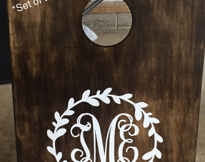 Monogram Cornhole Decals DIY Wedding Decals Wedding Cornhole Decals Rustic Wedding Personalized Wedding Decor Set of Two Cornhole Decals