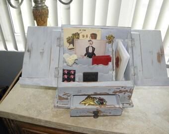 Distressed Solid Wood Painted Desktop Secretary, Desk Caddy, Desk Organizer Box