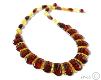 Baltic Amber Necklace. Cognac and Lemon Amber Beads.