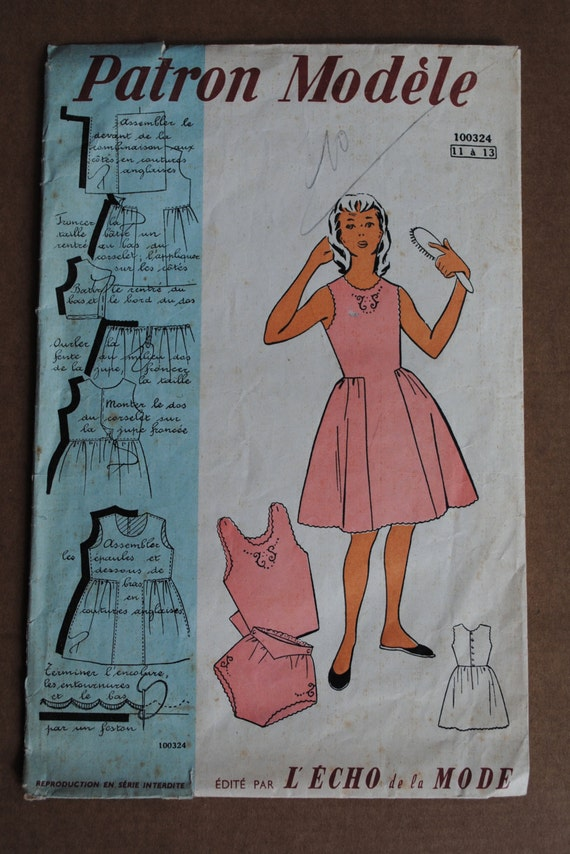 Vintage french original sewing pattern 1950 39 s patron for Patron tablier vintage