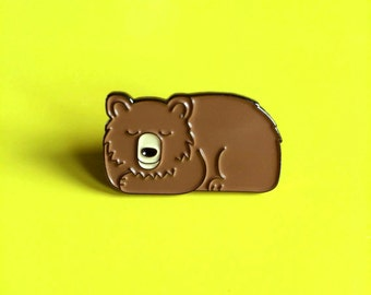 Enamel Pin Badge, Bear Pin, Sleepy Bear Enamel Pin, Cute Animal Pin, Stocking Filler, Bear Brooch, Lapel Pin Badge, Fun Pin, Bear Hat Pin