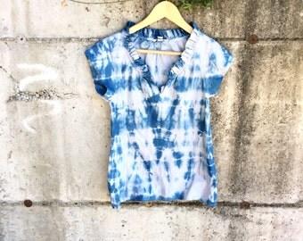 Shibori blouse, size XS, hand dyed blouse, boho clothing