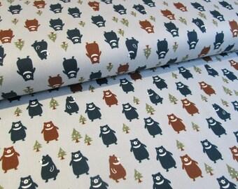 Kokka Japanese bear fabric in blue oxford cotton - 1/2 YD