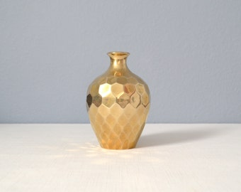 Vintage RIH Solid Brass Faceted Vase
