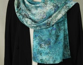 Marbled Silk Scarf Blue and Silver Granite