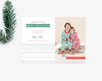 Mini Session Template - Christmas Pajama Holiday Minis - Photographer Marketing - Holiday Mini Sessions -  INSTANT DOWNLOAD MS013