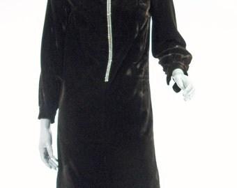 60/70s Velvet Mini Shift Dress - sm