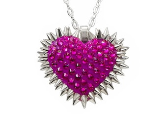 Mini Pavéd & Spiked Heart Necklace in Fuchsia