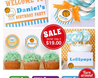 Basketball Birthday Party Package Personalized FULL Collection Set - PRINTABLE DIY - PS833CA1x