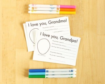 I love you Grandma/Grandpa printable cards - Personalized Grandparent Gifts Kids Craft Grandma Gifts Grandfather Gifts Grandmother Gifts