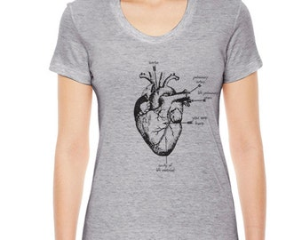 Women's Anatomical Heart T Shirt, Heart Shirt, Womens Clothing, Heart TShirt, Heart T Shirt