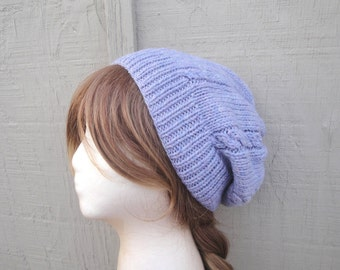Lavender Purple Slouch Hat, Hand Knit Soft Wool, Slouchy Beanie, Women & Teen Girls, Cable