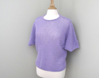 Loose Knit Top, Lacy Tee Shirt, Mesh Top, Sheer Top, Dolman Pullover, Oversized Sweater, Lavender Purple, Cotton Shirt