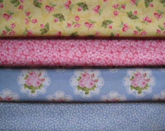 Floral Fabric Bundle  - 4 FAT QUARTERS - Pink, Blue & Yellow - Ready to Ship