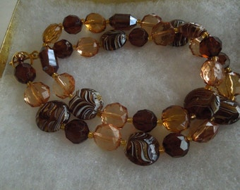 Brown lampwork Beaded Necklace