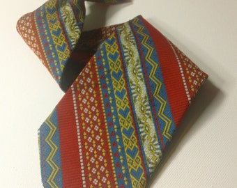 Vintage 1970s Snapper Red, Blue, Yellow & Silver Diagonal Stripe Clip On  Menswear Polyester Necktie ~ Men's Retro Hipster Fashion Accessory