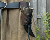 Leather Horn Holder, Viking Drinking Horn Holder, Medieval Renaissance Accessory - LEATHER PIECE ONLY - Choose Color