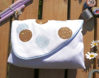Clutch Bag White , with baby blue and gold glitter spots. Small Handbag purse.