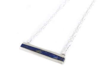 Lapis Bar Necklace Pendant - Dark Blue Inlay Bar Necklace - Stone Bar Necklace - Lapis Pyrite Bar Necklace - Sterling Silver Bar Necklace