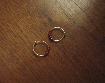 Extra Small 14k GF red beaded hoops- Tiny gold filled hoop earrings, deep red glass beads, minimalist earrings. gold earrings beaded