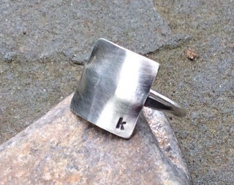 Sterling silver initial ring, Hand stamped, Personalized ring