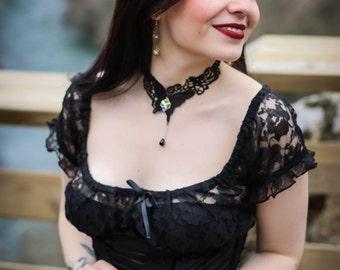 Gothic Choker Black Lace Choker Swarovski Crystal Choker Lolita Choker Crystal Butterfly Victorian Gothic Jewelry