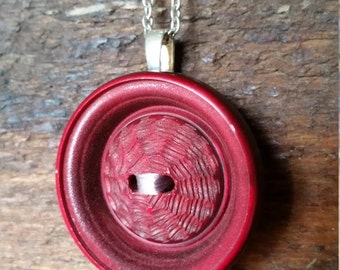 Vintage Red Button Necklace