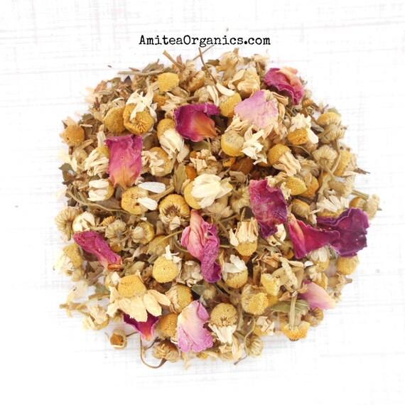 SOOTHING BLEND Organic Herbal Tea, Hand Blended, Chamomile +  Rose, Peaceful, Restful, Sleepy, Caffeine Free, 1oz Eco Box