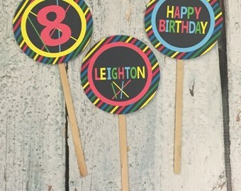 NEON GLOW PARTY Happy Birthday or Baby Shower Cupcake Toppers 12 {One Dozen}- Party Packs Available