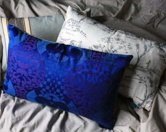 Large rectangle blue patterned silk cushion, backed in oatmeal linen, handmade with a feather inner