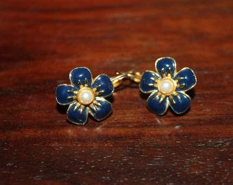 Joan Rivers Pierced Flower Pearl Earrings