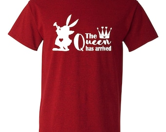 Queen of Hearts ~ The Queen Has Arrived ~ White Rabbit ~ Alice in Wonderland ~ Crown ~ Disney Inspired ~ Tshirt