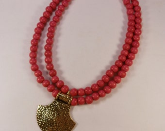 Red & Gold Ax Pendant Beaded Necklace  --  Long Layering Necklace Gift for Her Statement Necklace