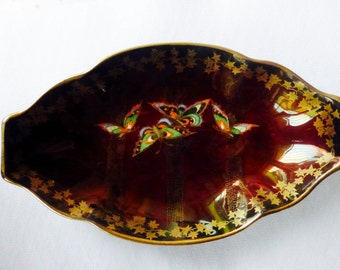 Fieldings Crown Devon Flambe Lustre Sylvan Butterfly Dish
