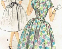 Vintage 60s Shirtwaist Dress Pattern Simplicity 3829. Kimono Sleeve, Princess Seam Dress with Full Gathered Skirt. Size 16 Bust 36 inches.