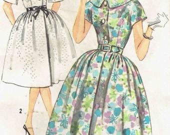 Vintage 60s Shirtwaist Dress Pattern Simplicity 3829. Kimono Sleeve, Princess Seam Dress with Full Gathered Skirt. Size 16 Bust 36 inches.