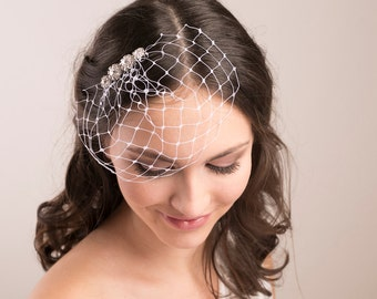 Bridal Rhinestone Birdcage Veil, wedding veil, petite birdcage