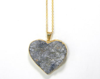 Heart Druzy Necklace, Geode drusy, Geode Necklace, Gold Plated, Holiday Gift