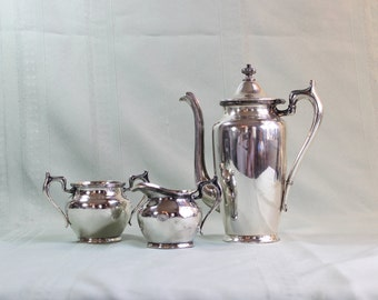 Small Silverplate Coffee Set- Creamer, Sugar- Coffee Pot- Antique/ Vintage- EPNS Made in US America- Individual Size- Hotel silver