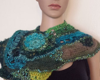 OOAK Freeform crochet knit multicolor scarf