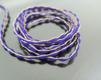 Elastic Cord 2.5mm - Purple with Metallic Gold Stretch Elastic Drawcord Rope Cord ( 1 , 5 or 10 Yards )